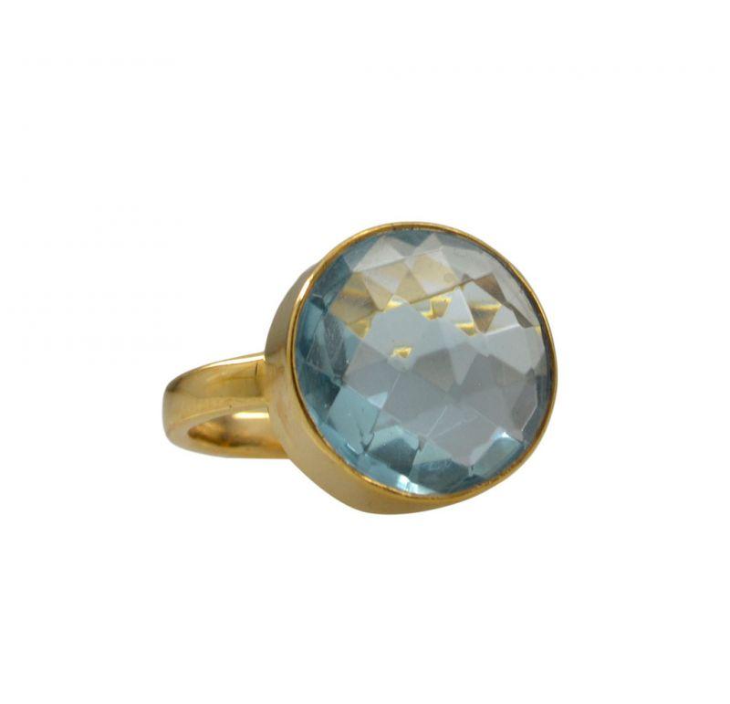 Buy Riyo A Blue Topaz Cz 18kt Gold Plated Smooth Ring Gprbtcz70-92141 online