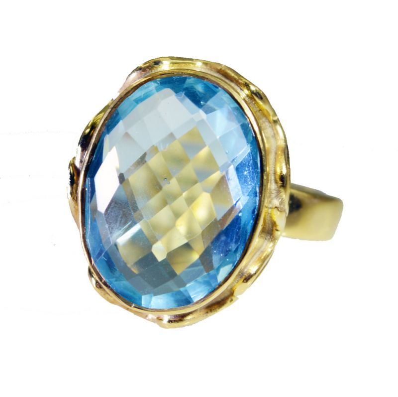 Buy Riyo Blue Topaz Cz 18 Kt Gold Platings Posie Ring Sz 7.5 Gprbtcz7.5-92066 online