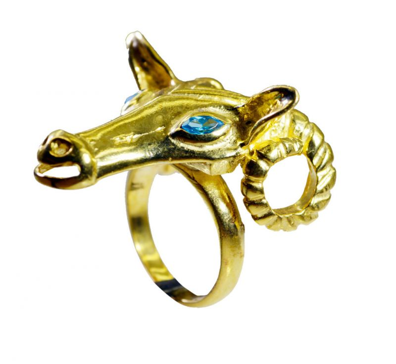 Buy Riyo Blue Topaz Cz 18 Ct Gold Plating Classic Day Rings Sz 7.5 Gprbtcz7.5-92083 online