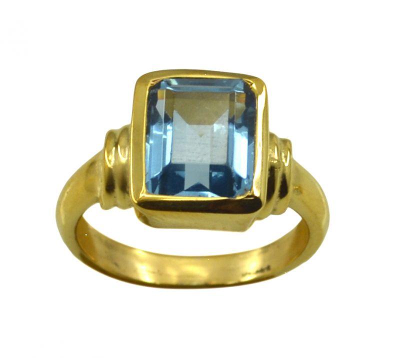 Buy Riyo A Blue Topaz Cz 18kt Gold Plated Solid Ring Gprbtcz75-92122 online