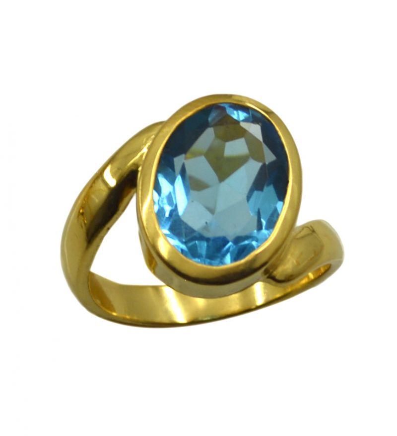Buy Riyo A Blue Topaz Cz 18kt Gold Plated Sophisticated Ring Gprbtcz75-92128 online