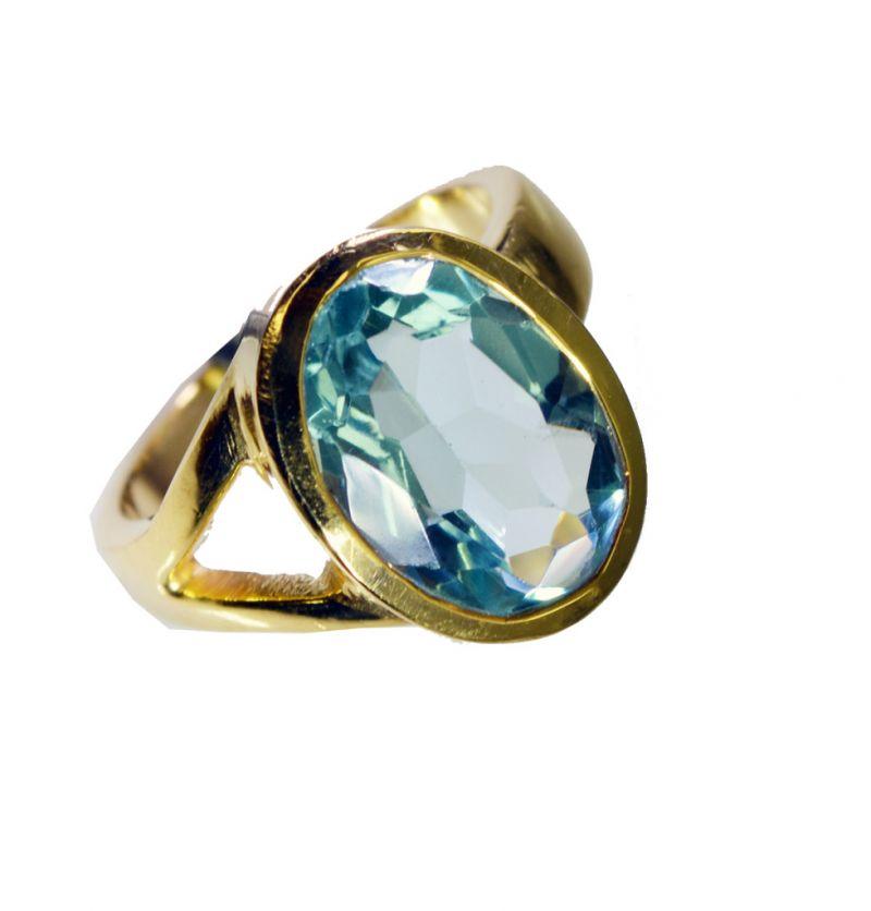 Buy Riyo Blue Topaz Cz 18-kt Gold Plating Rosary Ring Jewelry Sz 8 Gprbtcz8-92068 online