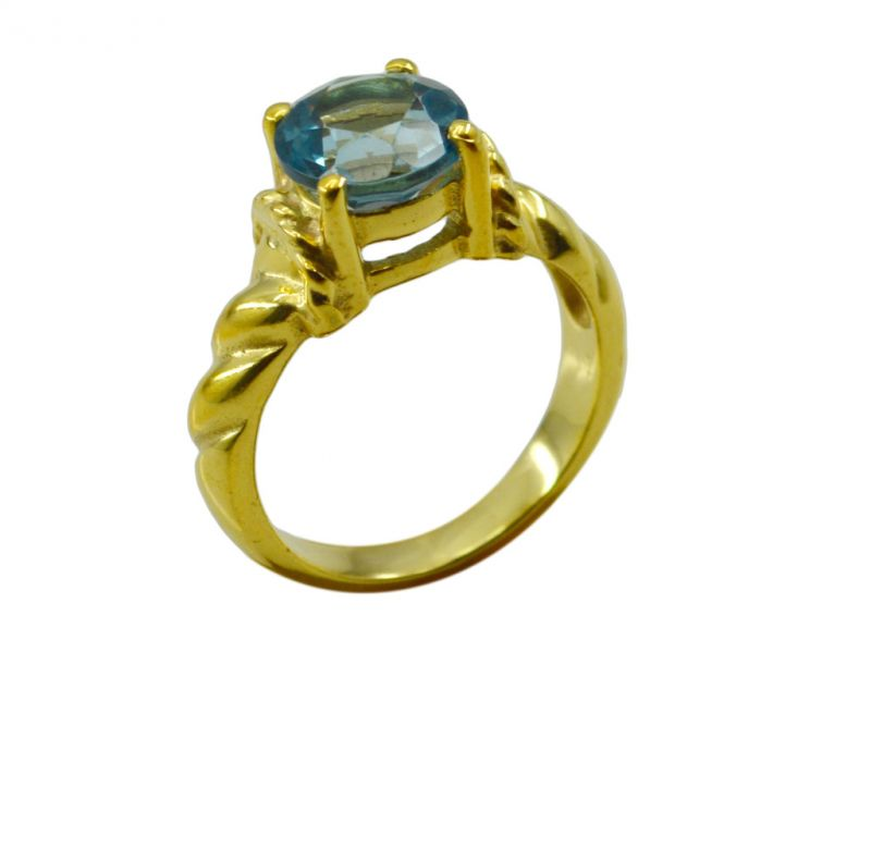 Buy Riyo A Blue Topaz Cz 18kt Gold Plated Striking Ring Gprbtcz80-92102 online