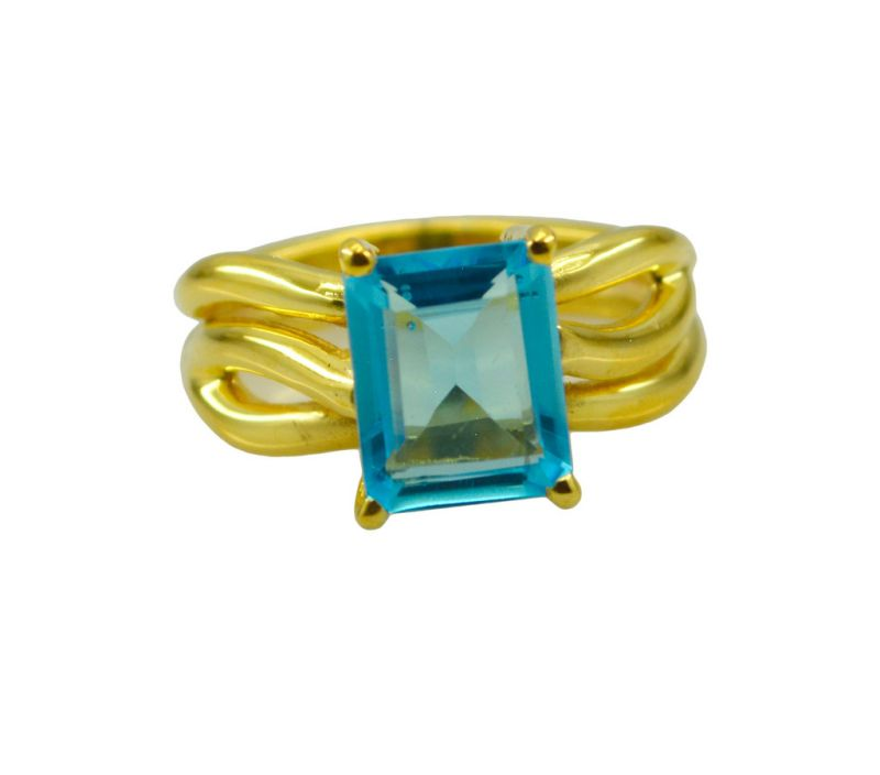 Buy Riyo A Blue Topaz Cz 18kt Gold Plated Stunning Ring Gprbtcz80-92111 online