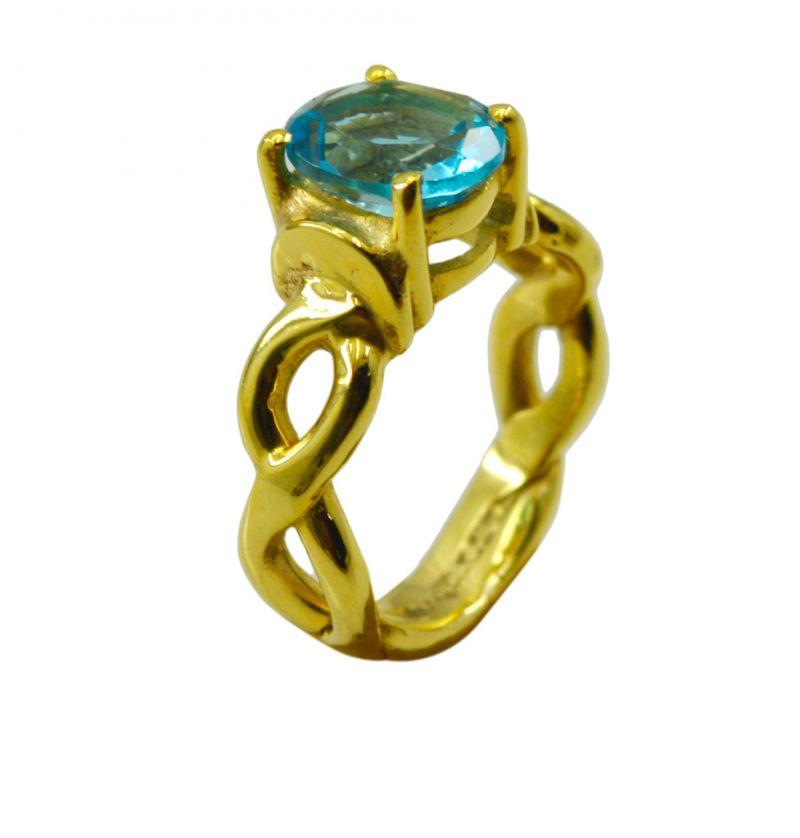 Buy Riyo A Blue Topaz Cz 18kt Gold Plated Stylish Ring Gprbtcz80-92114 online