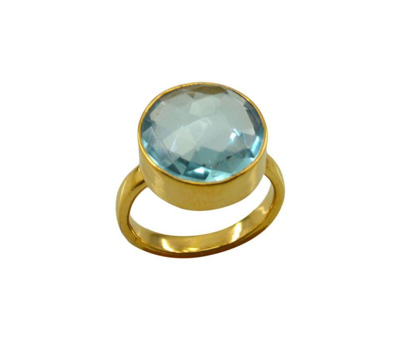 Buy Riyo A Blue Topaz Cz 18kt Gold Plated Stylish Ring Gprbtcz80-92139 online