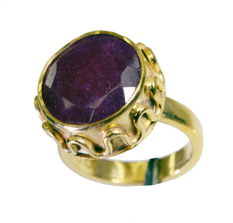 Buy Riyo Indi Ruby Gold Plated Jewellery Ecclesiastical Ring Sz 6.5 Gpriru6.5-34046 online