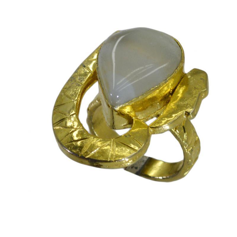 Buy Riyo Jasper 18kt Gold Plated Glittering Ring Gprjas60-40023 online