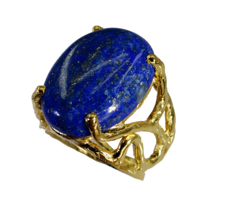 Buy Riyo Lapis Lazuli Indian Gold Plate Beautiful Ring Sz 6 Gprlla6-44090 online