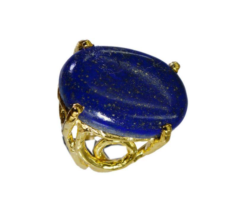 Buy Riyo Lapis Lazuli 18.kt Y Gold Plating Aqiq Ring Sz 6.5 Gprlla6.5-44061 online