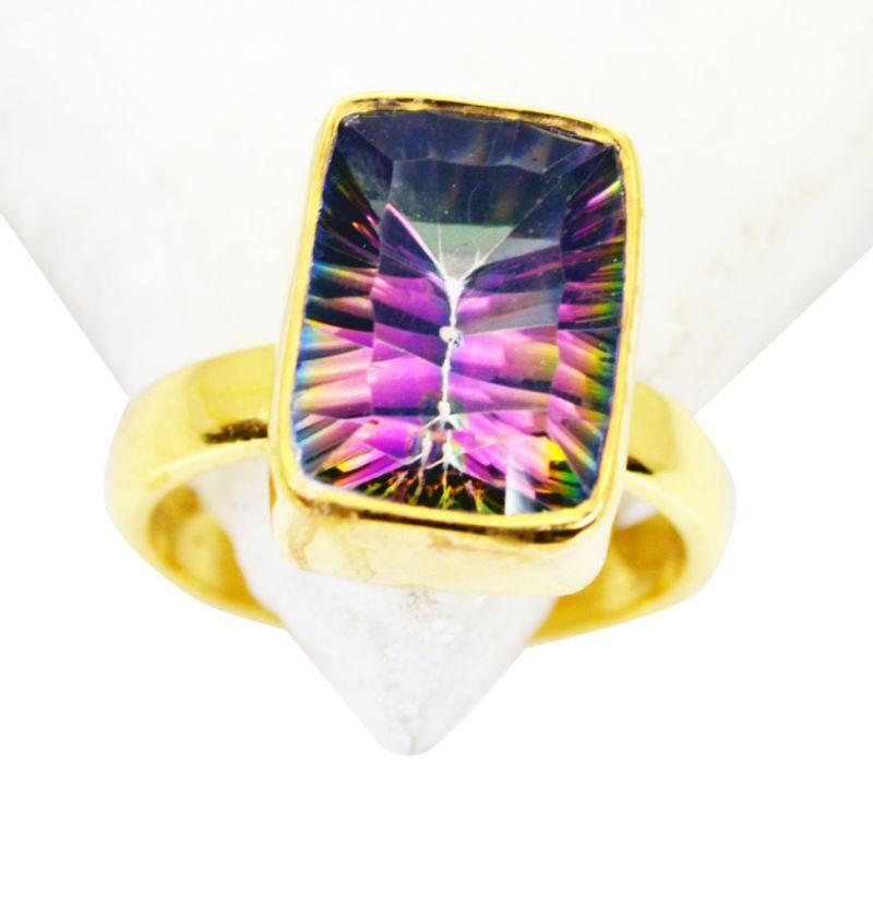 Buy Riyo Mystic Quartz 18 Kt Y Gold Plating Aqiq Ring Sz 8 Gprmqu8-54025 online