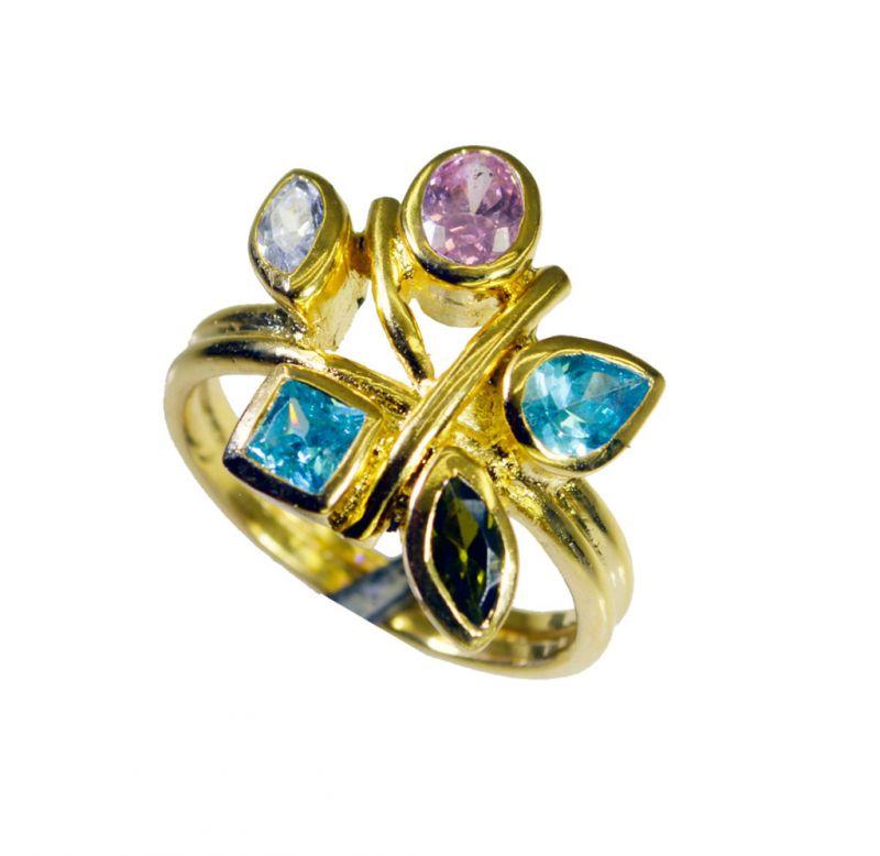 Buy Riyo Cz 18.kt Gold Plating Finger Armor Ring Sz 8.5 Gprmucz8.5-116033 online