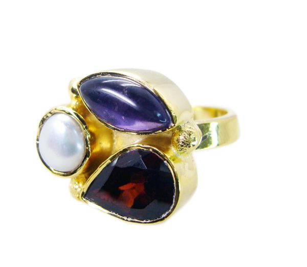 Buy Riyo Garnet 18 Kt Gold Fashion Gimmal Ring Sz 6 Gprmul6-52015 online