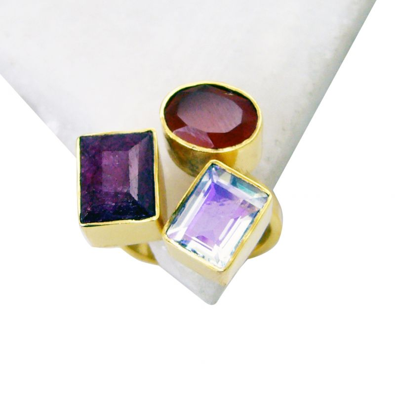 Buy Riyo Red Onyx 18 Kt Y.g. Plated Sovereign Ring Sz 6 Gprmul6-52042 online