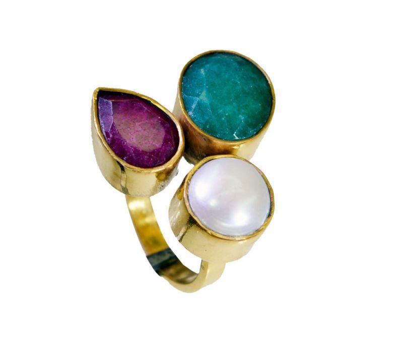 Buy Riyo Three Stone 18 Kt Y Gold Plating Sports Ring Sz 6 Gprmul6-53043 online