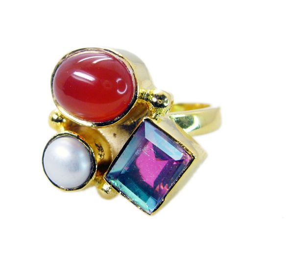 Buy Riyo Red Onyx 18.kt Gold Plating Mourning Ring Sz 7 Gprmul7-52055 online