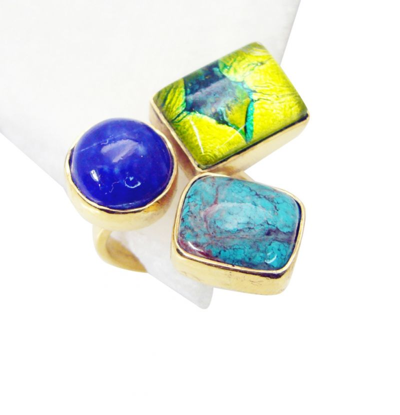 Buy Riyo Turquoise Gold Plated Jewelry Gimmal Ring Sz 7 Gprmul7-52083 online