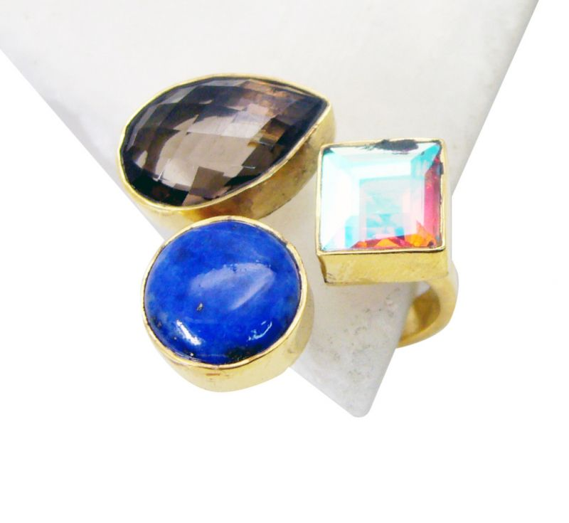 Buy Riyo Smoky Quartz 18k Y.g. Plated Ring Sz 8 Gprmul8-53021 online