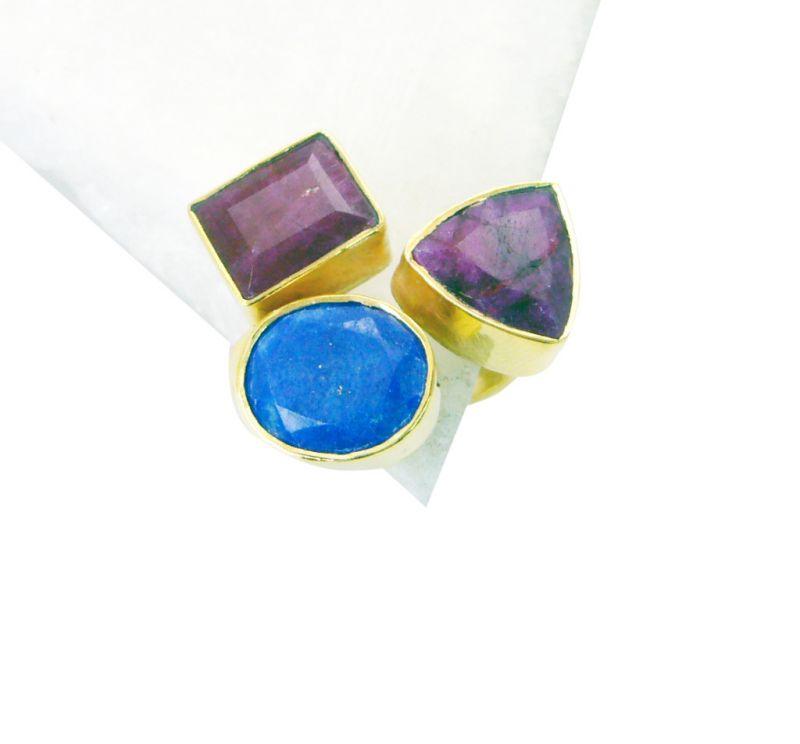 Buy Riyo Lapis Lazuli 18 Kt Gold Platings Aqiq Ring Sz 8 Gprmul8-53026 online