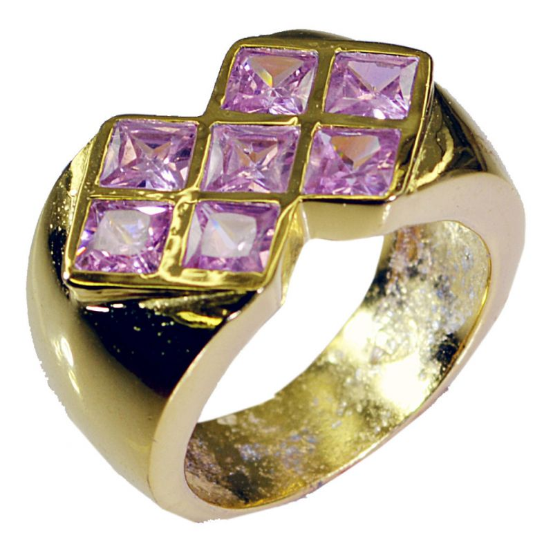 Buy Riyo Pink Cz 18 Kt Y Gold Plating Rosary Ring Jewelry Sz 7.5 Gprpicz7.5-102001 online