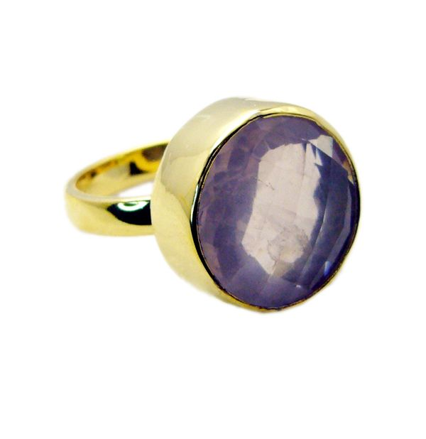 Buy Riyo Rose Quartz 18kt Gold Plating Gimmal Ring Sz 9 Gprroq9-68035 online