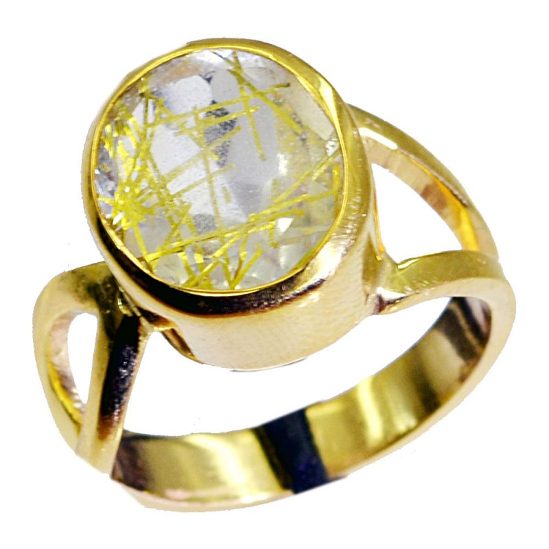 Buy Riyo Rutiled Quartz Cz Gold Plated Indian Mori Ring Sz 7 Gprrqcz7-106007 online