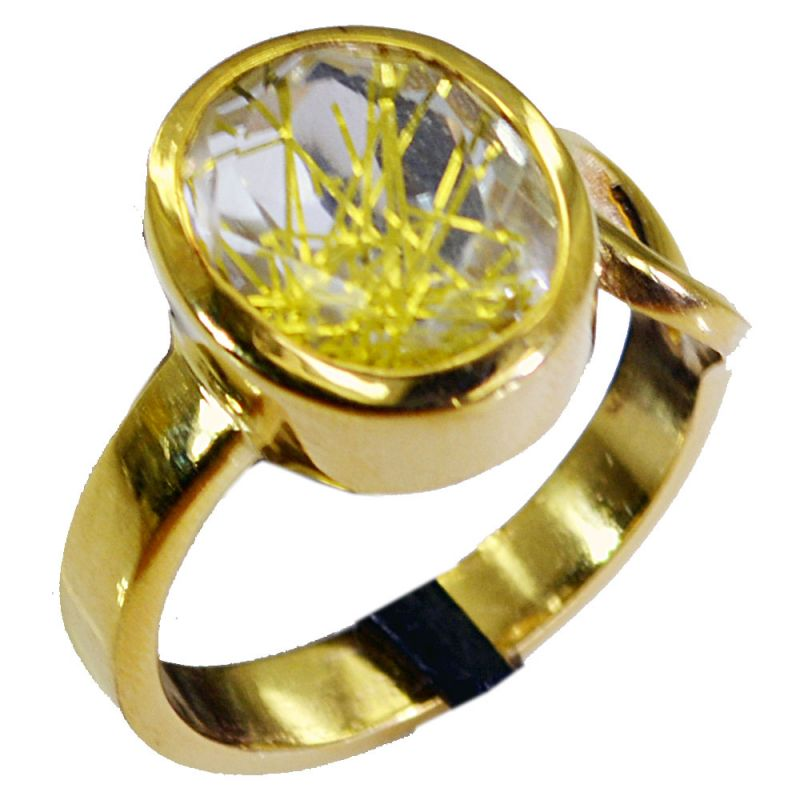 Buy Riyo Rutiled Quartz Cz Gold Plated India Cameo Ring Sz 7.5 Gprrqcz7.5-106009 online