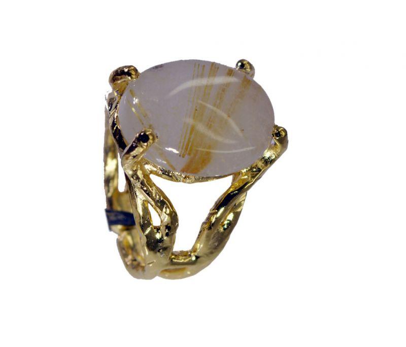 Buy Riyo Rutilated Quartz 18k Y Gold Plate Finger Armor Ring Sz 6.5 Gprruq6.5-70013 online