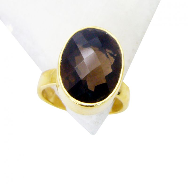 Buy Riyo Smoky Quartz 18kt Gold Platings Ecclesiastical Ring Sz 6 Gprsqu6-76022 online