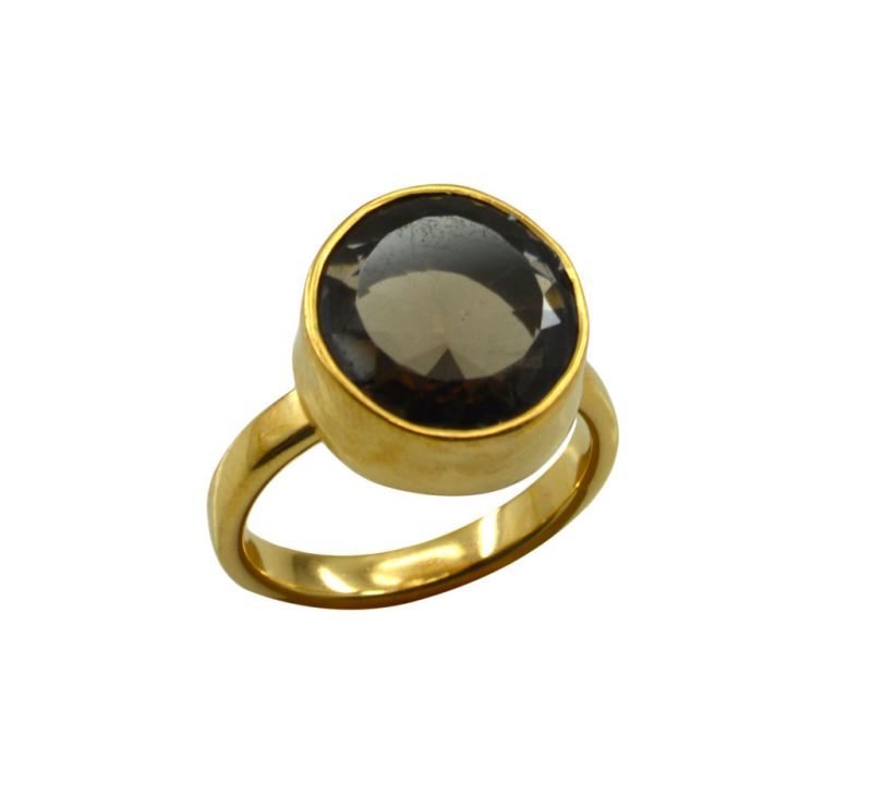 Buy Riyo Brown Smoky Quartz 18kt Gold Plated Artisan Ring Gprsqu70-76095 online