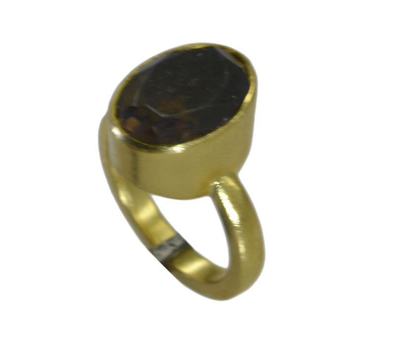 Buy Riyo Brown Smoky Quartz 18kt Gold Plated Artisanal Ring Gprsqu70-76097 online