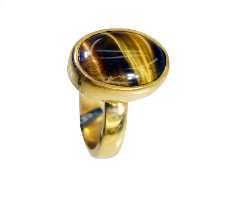 Buy Riyo Tiger Eye 18kt Y Gold Plating Mori Ring Sz 5 Gprtey5-80051 online