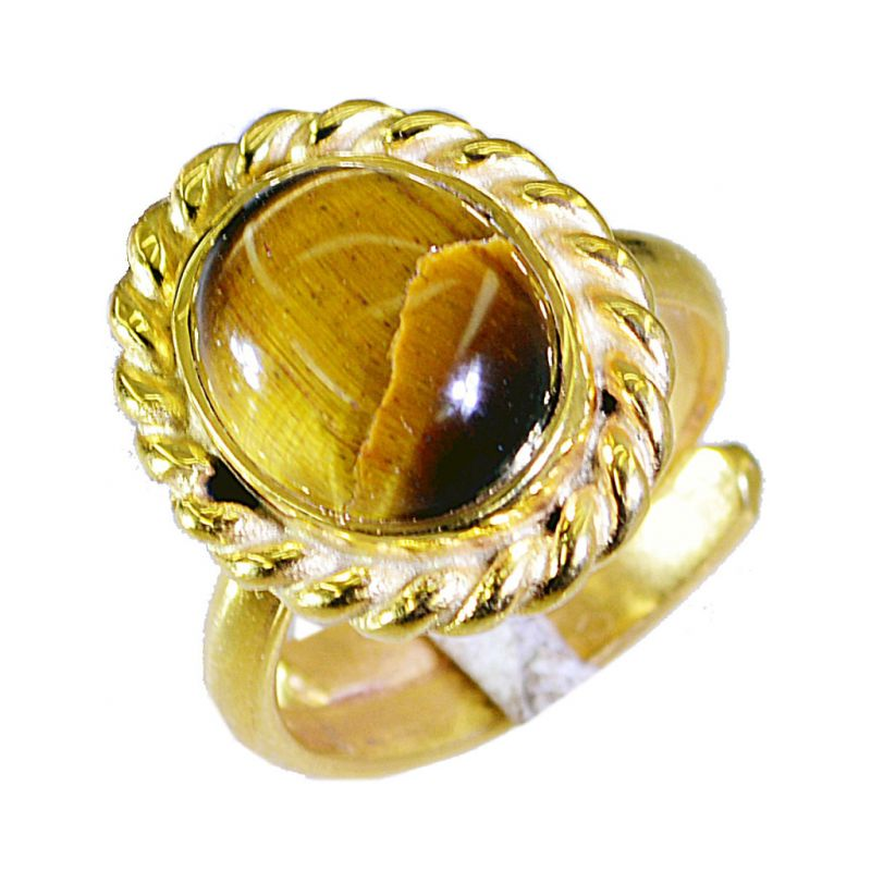 Buy Riyo Tiger Eye 18 Ct Gold Plated Posie Ring Sz 7 Gprtey7-80033 online