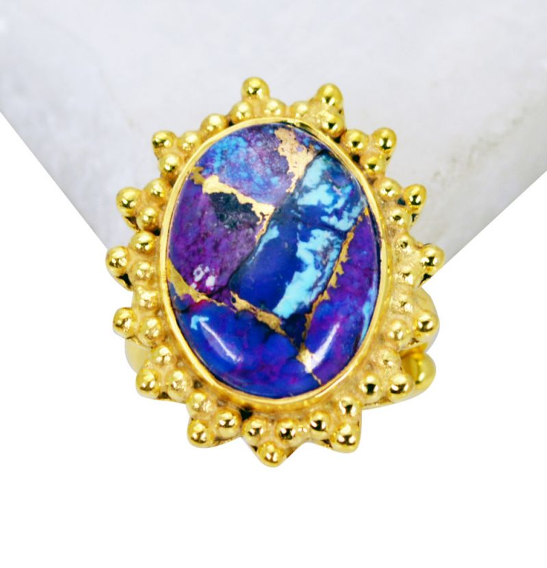 Buy Riyo Turquoise 18k Y Gold Plating Sports Ring Sz 5 Gprtur5-82086 online