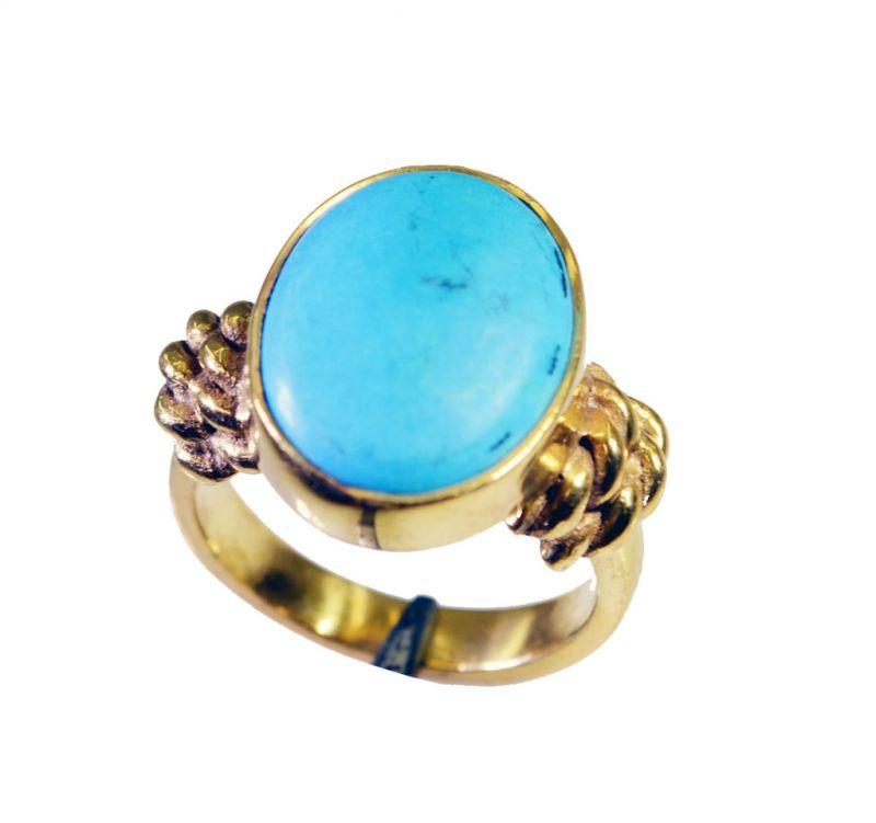 Buy Riyo Turquoise 18c Gold Polish Aqiq Ring Sz 5.5 Gprtur5.5-82104 online