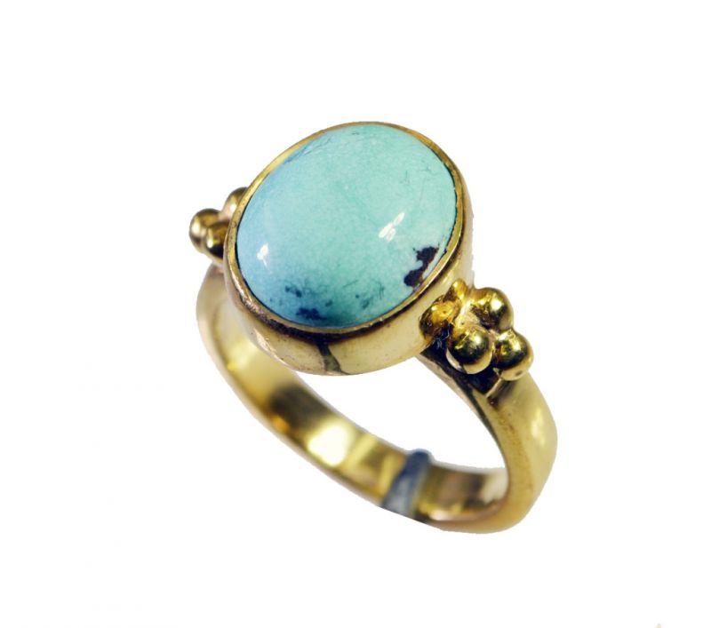 Buy Riyo Turquoise 18 Kt Y Gold Plating Ecclesiastical Ring Sz 5.5 Gprtur5.5-82108 online