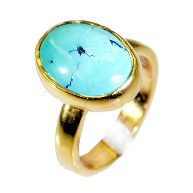 Buy Riyo Turquoise Gold Plate Jewelry Sports Ring Sz 6 Gprtur6-82020 online