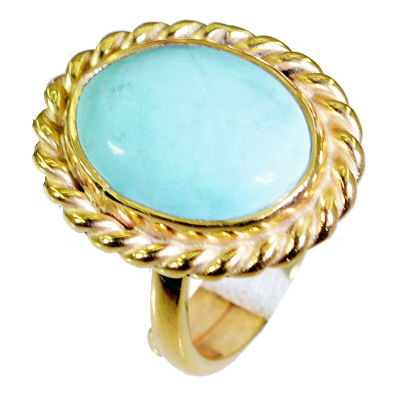Buy Riyo Turquoise Gold Plated Jewellery Promise Ring Sz 6 Gprtur6-82027 online