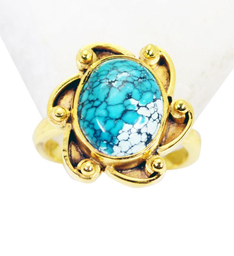 Buy Riyo Turquoise 18c Gold Plating Gimmal Ring Sz 6 Gprtur6-82111 online