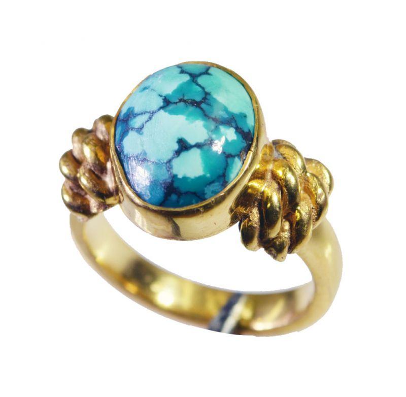 Buy Riyo Turquoise 18k Y Gold Plate Mothers Ring Sz 6 Gprtur6-82113 online