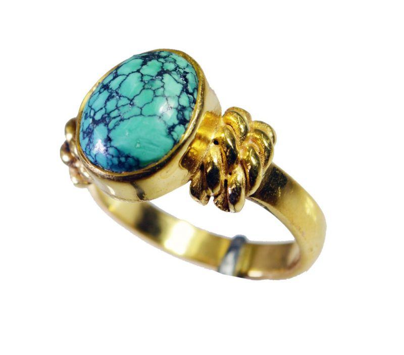 Buy Riyo Turquoise 18 Ct Ygold Plating Posie Ring Sz 7 Gprtur7-82147 online