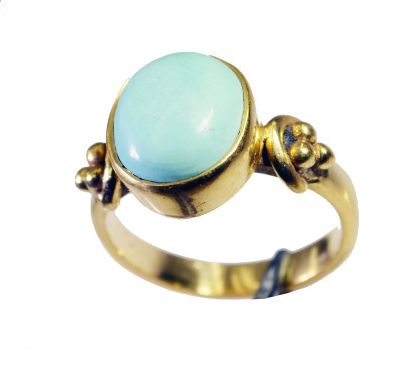 Buy Riyo Turquoise 18kt Y Gold Fashion Rosary Ring Jewelry Sz 7 Gprtur7-82149 online