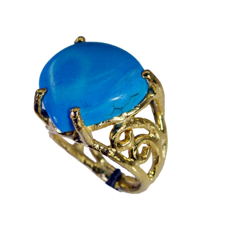 Buy Riyo Turquoise 18kt Gold Plated Ecclesiastical Ring Sz 7 Gprtur7-82174 online
