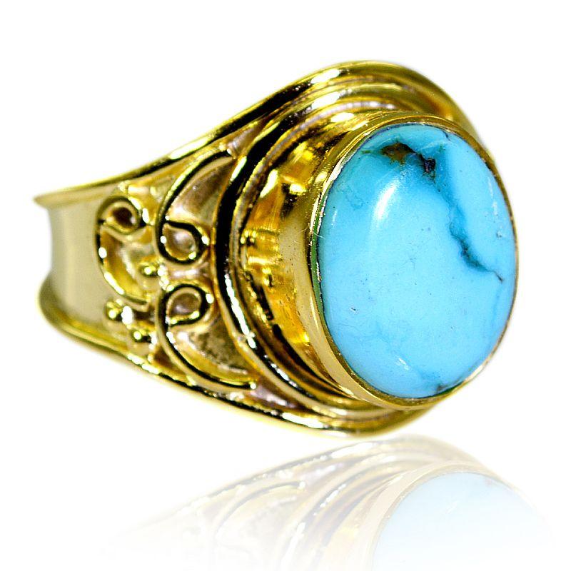 Buy Riyo Turquoise Base Matel Y Gold Cocktail Ring Sz 7.5 Gprtur7.5-82200 online