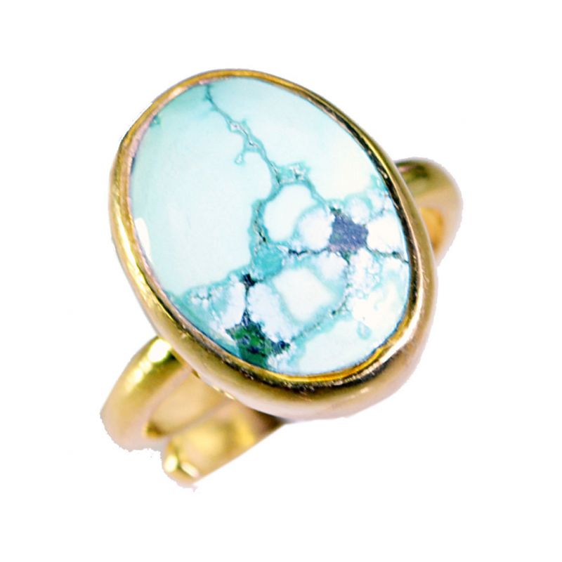 Buy Riyo Turquoise 18-kt Y Gold Plated Cameo Ring Sz 8 Gprtur8-82068 online