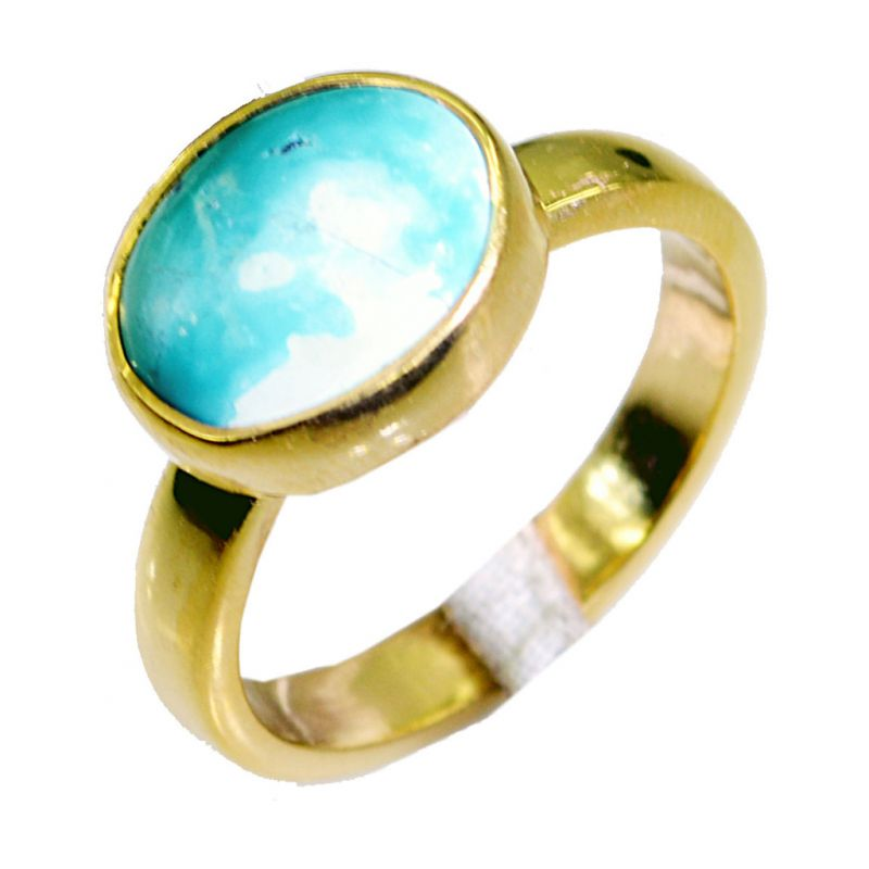 Buy Riyo Turquoise 18 Kt Y.g. Plated Class Ring Sz 8 Gprtur8-82073 online