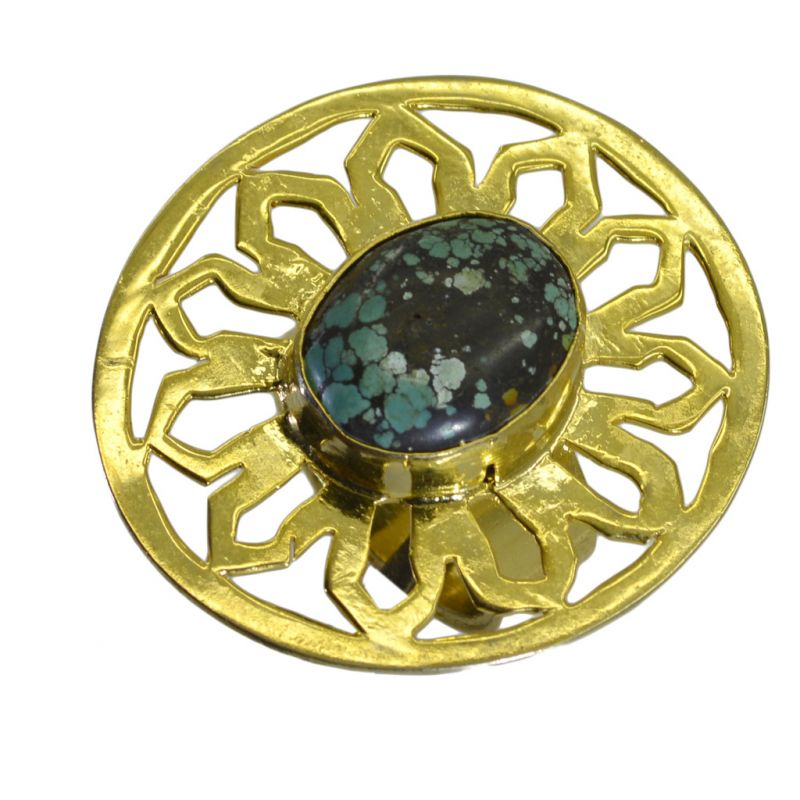 Buy Riyo A Turquoise 18kt Gold Plated Antique Ring Gprtur95-82212 online