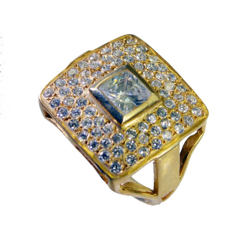 Buy Riyo White Cz 18kt Y Gold Fashion Promise Ring Sz 7.5 Gprwhcz7.5-110035 online