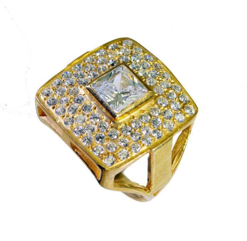 Buy Riyo White Cz Base Matel Y Gold Nice Ring Sz 8 Gprwhcz8-110034 online