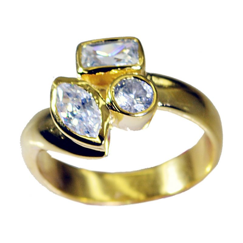 Buy Riyo White Cz 18 Ct Y.g. Plated Beautiful Ring Sz 8.5 Gprwhcz8.5-110020 online